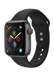 Promate Oryx-42SM Silicone Wrist Strap for Apple Watch 42mm/44mm Series 1/2/3/4, Small/Medium Size, Durable Sweatproof Strap with Secure Double Lock Pin and Adjustable Soft Band, Black