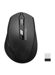 Promate CLIX-6 Wireless Mouse, 2.4G Ergonomic Designed with USB Nano Receiver, 15m Working Distance, Auto Sleep Function and 3 Adjustable DPI, Black