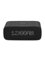 Promate Evoke 10W HD Portable Bluetooth Speaker, with Qi Wireless Charger, Digital Alarm Clock, Mic, USB Media/Charging Port, FM Radio, AUX and TF Card Slot, Black
