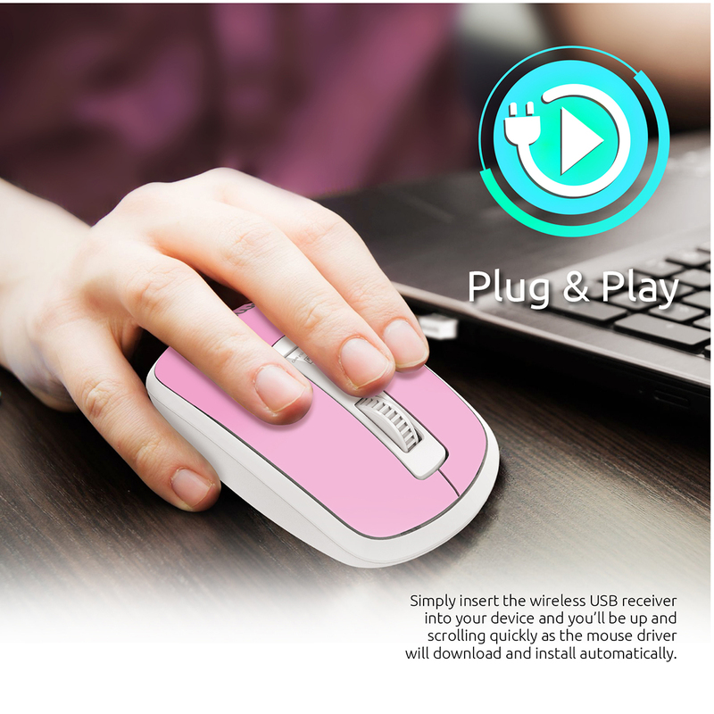 Promate CLIX-3 2.4 Ghz USB Wireless Ergonomic Mouse, Precision Scrolling for Windows Mac, Pink