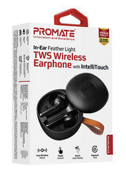 Promate Charisma True Wireless In-Ear Earbuds, Bluetooth 5.0, Stylish TWS Stereo with Touch Control, Charging Case, Anti-Drop Ear Hooks, 24H Playtime and Built-In Mic, Black