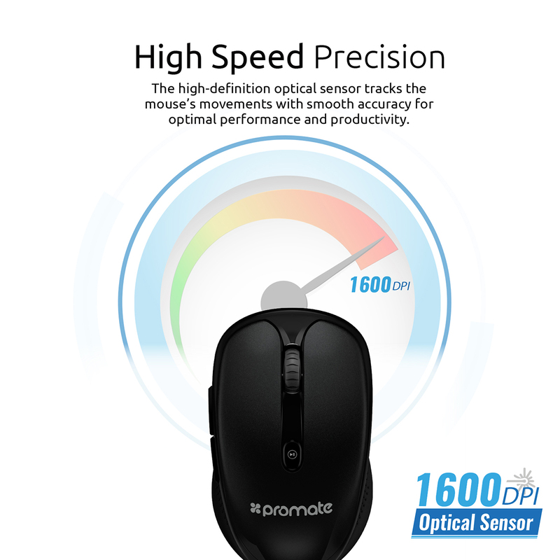 Promate CLIX-4 2.4Ghz Multimedia Wireless Optical Mouse, USB Adapter for Windows, Mac, Black