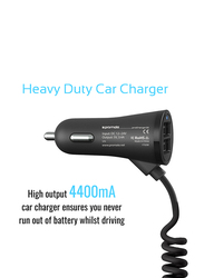 Promate ProCharge-C2 Car Charger, Fast 3.4a Dual USB Car Charger with Built-in 1.8m USB Coiled Cable, LED Indicator and Over-Heating Protection for GPS, MP3 Player, Mobile Phones and Tablets, Black
