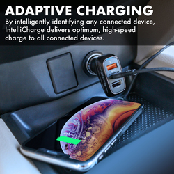 Promate Scud-C35 3 Port USB Car Charger, Fast 30W 3.4A Dual USB Car Charger Adapter with Qualcomm Quick Charger 3.0 USB Port and Over-Heating Protection for iPad, GPS, Mobile Phones and Tablets,Black