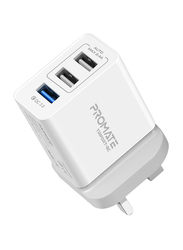 Promate TriPort-QC-UK Heavy Duty 3 Port USB Wall Charger with 30W Fast Charge Qualcomm QC 3.0 Port and 2.4A Dual USB Port, Automatic Voltage Regulation for Smartphones/Tablets/TriPort, White