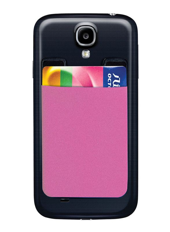 Promate Cardo Card Holder, Mobile Card Holder for Credit Metro Card Holder Pouch with 3M Rear Sticker for Apple Samsung HTC, Pink