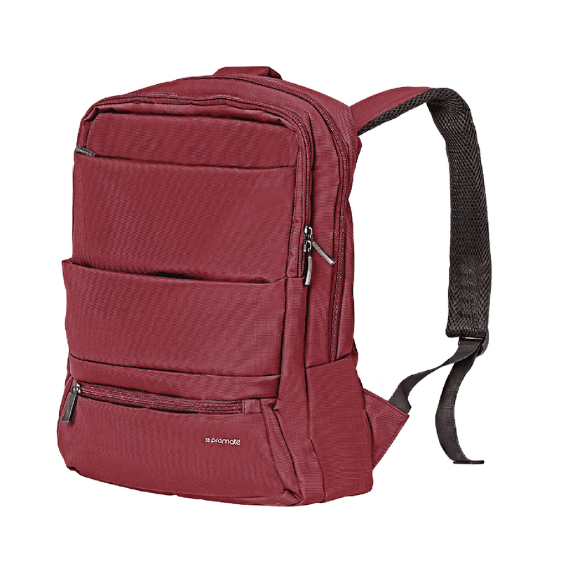 Promate Apollo-BP Laptop Backpack, Slim Lightweight Dual Pocket Water Resistance with Multiple Compartment and Anti-Theft Pocket for 15.6 Inch Laptops, Tablets, Red
