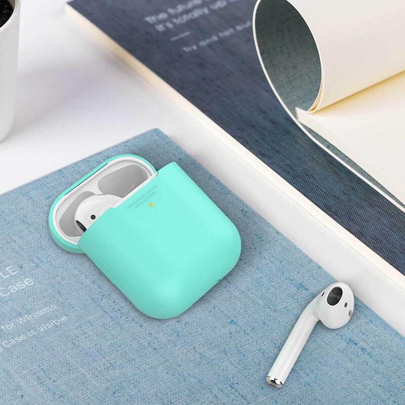 Promate AirCase Silicone Case for Apple AirPods/AirPods 2, Ultra-Lightweight Protective 360 Degree Cover with Scratch-Resistance and Wireless Charging, Green