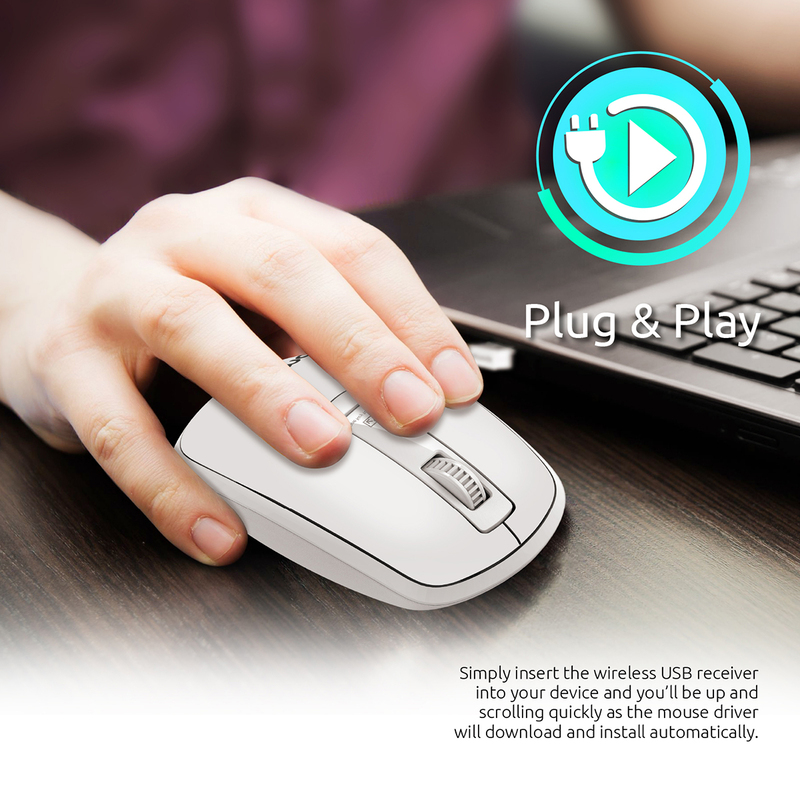 Promate CLIX-3 2.4 Ghz USB Wireless Ergonomic Mouse, Precision Scrolling for Windows Mac, White
