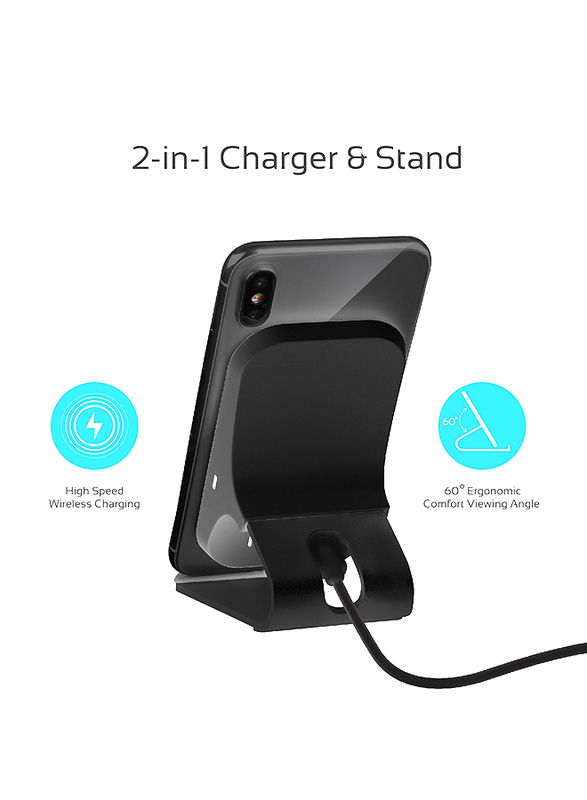 Promate AuraDock-6 Qi Wireless Charging, Fast 15W Wireless Charging Pad Stand with Dual Charging Coil, QC 3.0 Wall Charger, USB-C Sync Charge Cable and Multiple Charging Area, for Mobile Phones Black