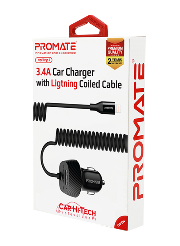 Promate VolTrip-I Car Charger, Carbon Fibre 3.4A Car Charger with Built-In Coiled Cable and 2.4A Fast USB Charging Port, Short-Circuit Protection, for GPS, Mobile Phones and Tablets, Black