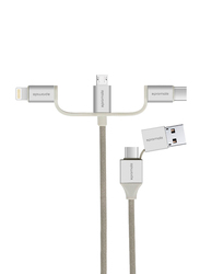 Promate 1.2-Meter UniLink-Trio2 Multi Charging Cable, Universal 3-in-1 Multiple USB Adapter USB A Male to Lightning/USB Type-C/Micro USB for Apple iPhone X/Samsung Note 9/OnePlus 6, Silver