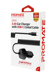 Promate VolTrip-C Charger Car Charger Adapter, Fast Charging 3.4A USB Car Charger with Integrated Built-In Coiled USB-C and Short Circuit Protection, for GPS, Mobile Phones and Tablets, Black