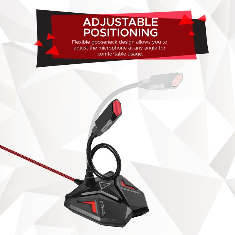 Promate Streamer USB Gaming Microphone, High Definition Omnidirectional Gooseneck Condenser Mic W/Audio Jack Out, Mute Button and Built-In Tangle-Free Cord for PC/Laptop/Mac/Recording/Gaming, Maroon