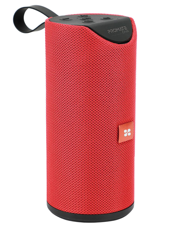 Promate Chill Portable Wireless Bluetooth v5.0 Stereo Speaker with 6W HD Sound, Built-In Mic, Micro SD Card Slot, In-Line AUX and 1200mAh Rechargeable Battery, Maroon