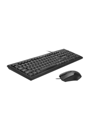 Promate Combo-KM1 Arabic/English Keyboard and Mouse Combo, Premium Lightweight 104 Keys Full-Sized Wire Cored Keyboard with Silent Soft Keys and 1200Dpi Optical Mouse, Black