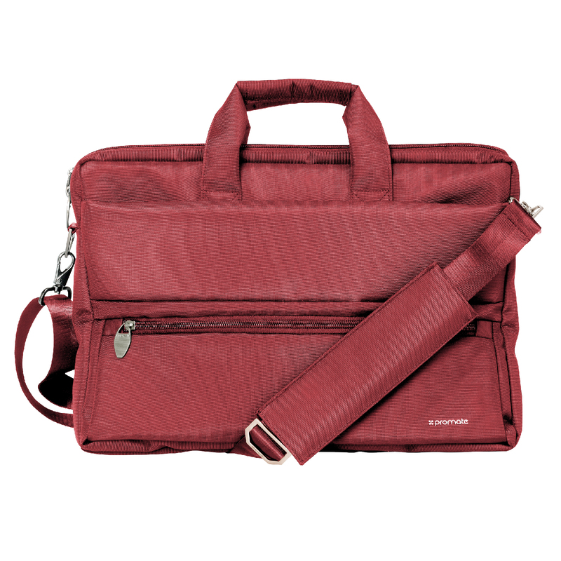 Promate Apollo-MB Messenger Bag Laptop, Multifunction Shoulder Bag with Multiple Storage Pocket, Detachable Sling and Water-Resistance for 15.6 Inch Laptops, Tablet, Red