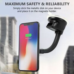 Promate MagMount Magnetic Car Mount Holder, Universal 360 Rotation Windshield or Dashboard Suction Cup Phone holder with 6 Strong Magnetic, Flexible Gooseneck and Anti-Slip Grip, Blue