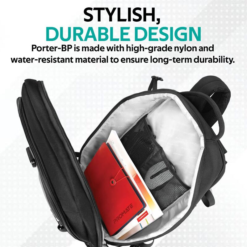 Promate Porter-BP 16-inch Laptop Backpack Bag with Water Resistant, Secure/Anti-Theft Organized Pockets and Contoured Back Panel, Black