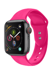 Promate Oryx-42ML Silicone Wrist Strap for Apple Watch 42mm/44mm Series 1/2/3/4, Medium/Large Size, Durable Sweatproof Strap with Secure Double Lock Pin and Adjustable Soft Band, Pink