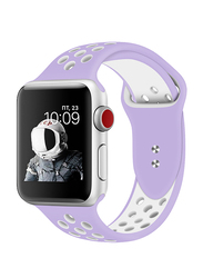 Promate Oreo-42ML Silicone Sport Band for Apple Watch 42mm/44mm Series 1/2/3/4, Medium/Large Size, Dual-Toned Perforated Silicone with Secure Dual Pin-Tuck Closure and Sweat-Resistant, Purple /White