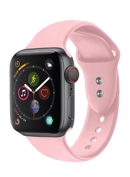 Promate Oryx-42SM Silicone Wrist Strap for Apple Watch 42mm/44mm Series 1/2/3/4, Small/Medium Size, Durable Sweatproof Strap with Secure Double Lock Pin and Adjustable Soft Band, Light Pink