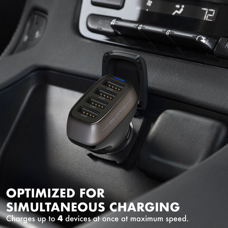 Promate Scud-48 Car Charger Adapter, 48W USB Smart Car Charger with 9.6A Super Speed 4 USB Charging Port and Short-Circuit Protection for iPad Pro, Mobile Phones and Tablets, Black