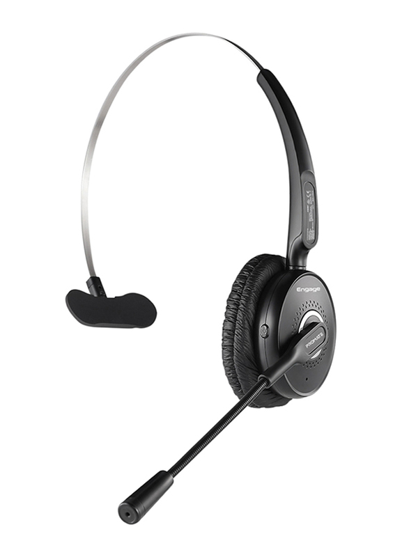 Promate Engage Wireless Bluetooth Over-Ear Noise Cancelling Computer Mono Headset, with Mic, HD Voice, Built-In Controls and Adjustable Fit, Black