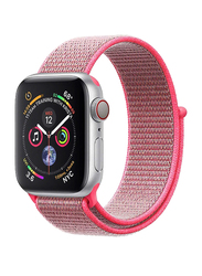 Promate Fibro-42 Sports Loop Band for Apple Watch 42mm/44mm Series 1/2/3/4, Premium Nylon Weave Mesh with Dense Loop and Adjustable Wrist Strap, Workout, Fitness, Running, Pink