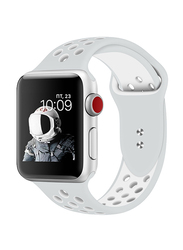 Promate Oreo-42ML Silicone Sport Band for Apple Watch 42mm/44mm Series 1/2/3/4, Medium/Large Size, Dual-Toned Perforated Silicone with Secure Dual Pin-Tuck Closure and Sweat-Resistant, Grey /White