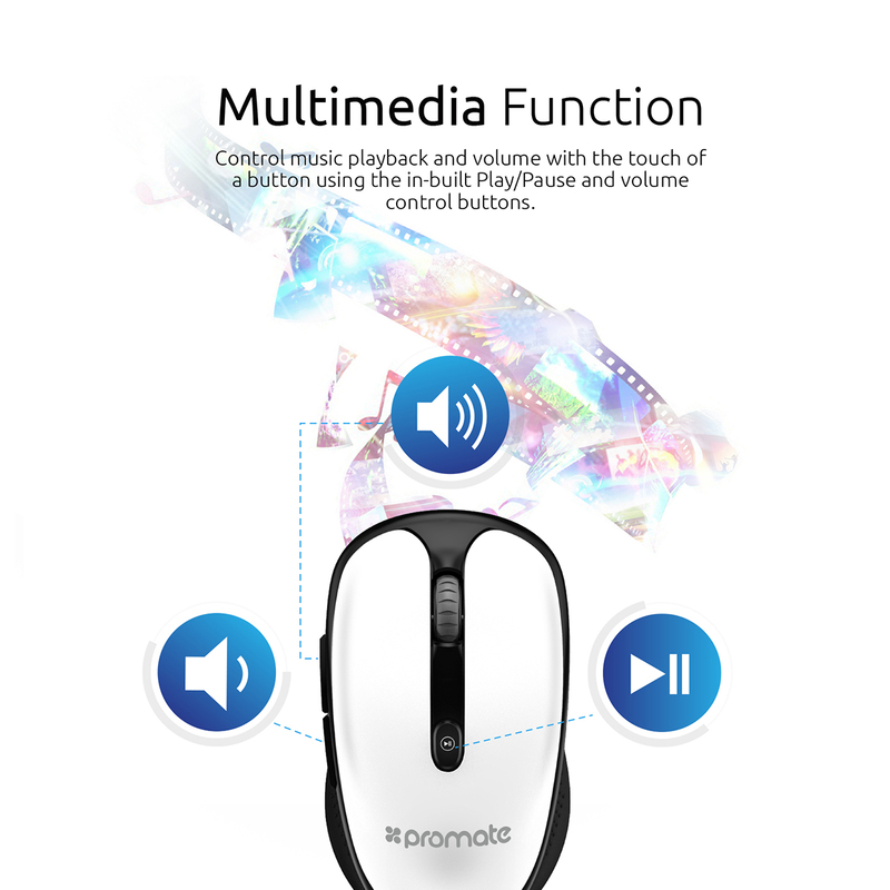 Promate CLIX-4 2.4Ghz Multimedia Wireless Optical Mouse, USB Adapter for Windows, Mac, White