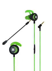 Promate Clink In-Ear Passive Noise Cancellation Gaming Earphones with 3.5 mm Jack and Detachable Dual Mic Volume Control, Green