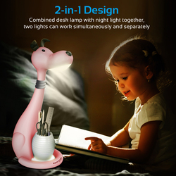 Promate Goofy Kids Night Light, Portable Pen-Holder Touch Sensitive LED Night Light, 3 Level Dimmable Reading Light, 3 Colour, Eye Safe Soothing Light for Studying/Reading/Table/Home, Pink