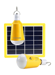 Promate SolarLamp-1 Solar LED Camping Light, 3W Solar Panel Powered 2 LED Light Lamp, Built-In Rechargeable 2600 mAh Power Bank, Hanging Hook, 150 Lumen LED Light for Tent/Hiking/Fishing, Yellow