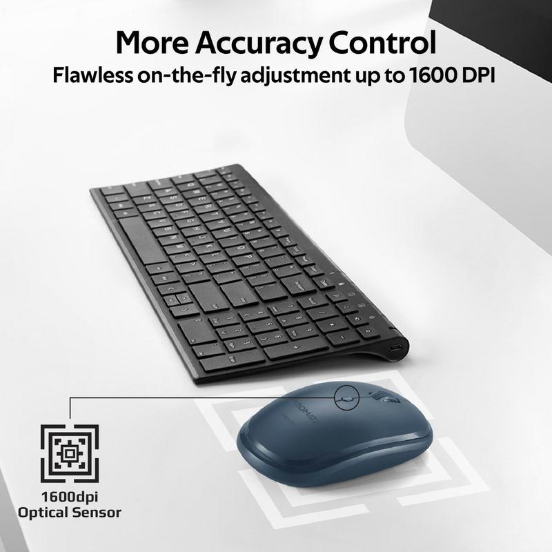 Promate Hover Wireless Sleek Precision Tracking Ergonomic Optical Mouse, Blue