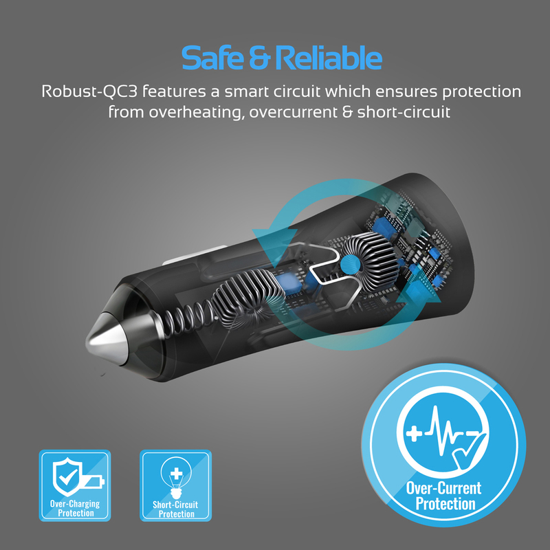 Promate Robust-QC3 Car Charger, Heavy-Duty Qualcomm Quick Charger 3.0 Dual USB Port Car Charger with Short Circuit and Over Charging Protection for GPS, iPod, Mobile Phones and Tablets, Black