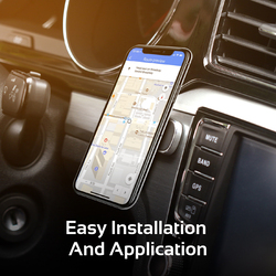 Promate MagMini-2 Magnetic Phone Car Mount, Universal Mini Stick-On Rectangle Flat Dashboard Magnetic Car Mount Holder with 360 Degree Rotatable, Black