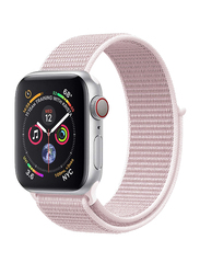 Promate Fibro-42 Sports Loop Band for Apple Watch 42mm/44mm Series 1/2/3/4, Premium Nylon Weave Mesh with Dense Loop and Adjustable Wrist Strap, Workout, Fitness, Running, Light Pink