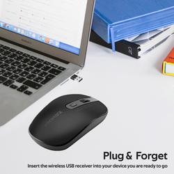 Promate Suave-2 USB Type-C/Type-A Wireless Ergonomic Optical Mouse, Black