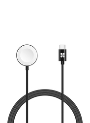 Promate AuraCord-C Wireless Charger, Apple MFi Certified, 5W Fast Charger to USB Type C Connector Cable, 1-Meter Anti-Tangle Cord, Over-Charging Protection for Apple Watch Series 5/4/3/2/1, Black
