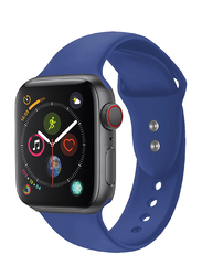 Promate Oryx-42SM Silicone Wrist Strap for Apple Watch 42mm/44mm Series 1/2/3/4, Small/Medium Size, Durable Sweatproof Strap with Secure Double Lock Pin and Adjustable Soft Band, Blue