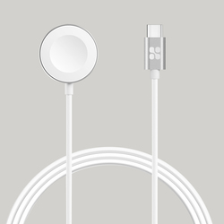 Promate AuraCord-C Wireless Charger, Apple MFi Certified, 5W Fast Charger to USB Type C Connector Cable, 1-Meter Anti-Tangle Cord, Over-Charging Protection for Apple Watch Series 5/4/3/2/1, White