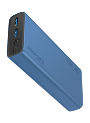 Promate 20000mAh Bolt-20 Super-Slim Fast Charging Portable Charger with 2A Dual USB Port, Over-Charging Protection and USB-C, Micro USB Input Port for Smartphones/Tablets/iPod/iPad, Blue