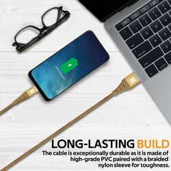 Promate 1.2-Meter NerveLink-C USB-C Cable, 3A Fast Charging USB A Male to USB Type-C, with Short-Circuit Protection, Long Life and Anti-Tangle Cord Design for All Type-C Enabled Devices, Gold