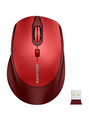 Promate CLIX-5 Wireless Optical Mouse, Ergonomic Lightweight 2.4Ghz with USB Nano Receiver, 15m Working Ranger, Auto Sleep and Precision Scrolling, Red