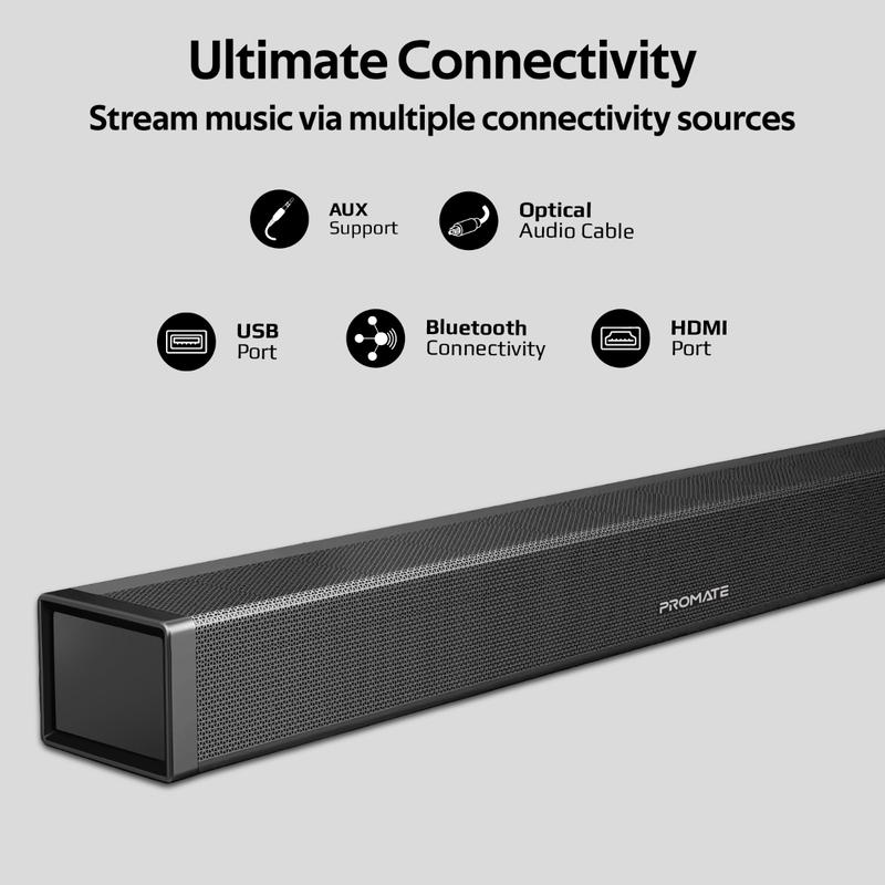 Promate BluesBar-60 Wireless Soundbar, 60W, Black