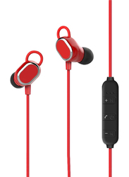Promate Rovi Wireless Bluetooth In-Ear Noise Isolation Music Neckband Earphones, Sporty Ear-Lock Design, Built-In Microphone and Inline Volume Control, Red