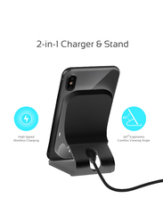 Promate AuraDock-5 Type-C Wireless Charger, Qi-Certified Dual Coil Aluminium 10W Single Port Charger Stand with Qualcomm QC 3.0 Wall Adapter and USB Sync Charge Cable, for Mobile Phones, Grey