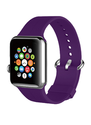 Promate Silica Strap for Apple Watch 38mm/40mm Series 1/2/3/4, Premium Silicone Quick Release Soft Rubber Band with Stainless Steel Buckle and Sweatproof, Purple