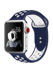 Promate Oreo-38ML Silicone Sport Band for Apple Watch 38mm/40mm Series 1/2/3/4, Medium/Large Size, Dual-Toned Soft Breathable Silicone with Dual Lock Pin and Sweat Resistant, Blue/White